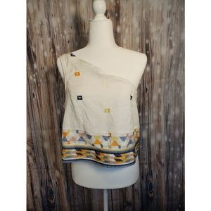 Free People NWT One Shoulder Embroidered Top